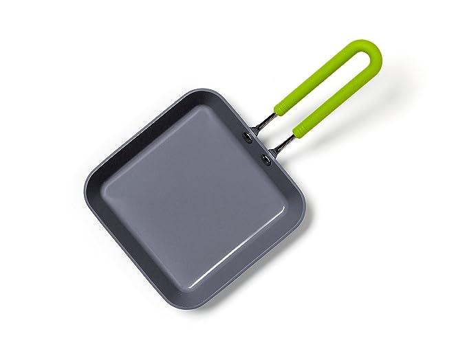 GreenPan CW001360-002 Cerámica saludable 100% ToxinFree Antiadherente Utensilio de metal / Lavaplatos / OvenSafe Sartén cuadrada de huevo abierto ...