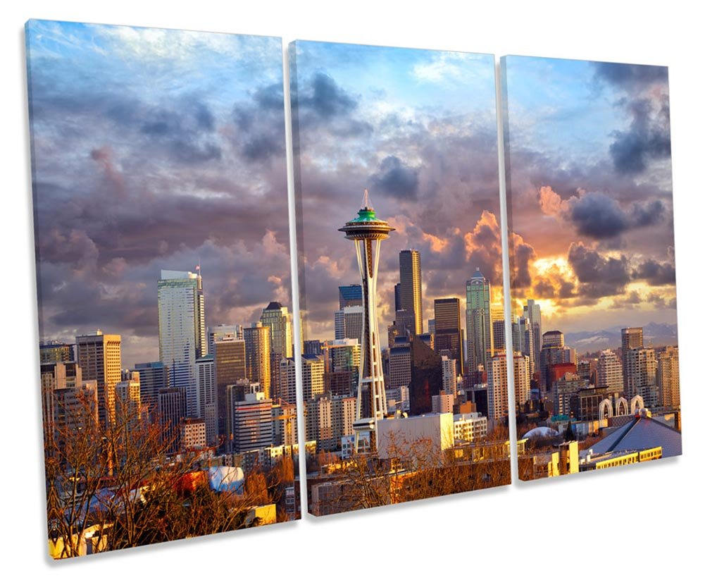 Canvas Geeks Seattle Skyline Sunset City Treble Leinwandbild, Rahmen, 150cm Wide x 100cm high