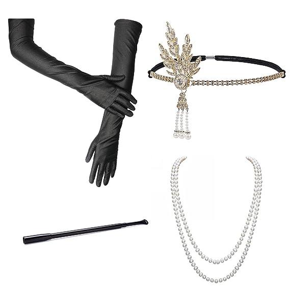 Gatsby Accessoires Handschuhe Ohrringe Lange 20 Perlen Halskette Jahre Zigarettenspitze Accessoires Stirnband Set BigLion Mode Schwarze Flapper 5RLqA34j
