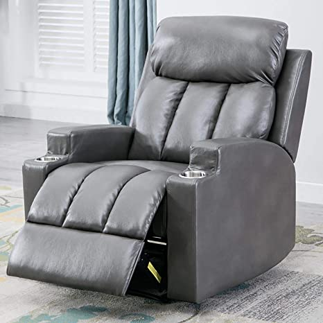 ANJ Chair Recliner Contemporary Theater Recliner with 2 Cup Holders Light Grey