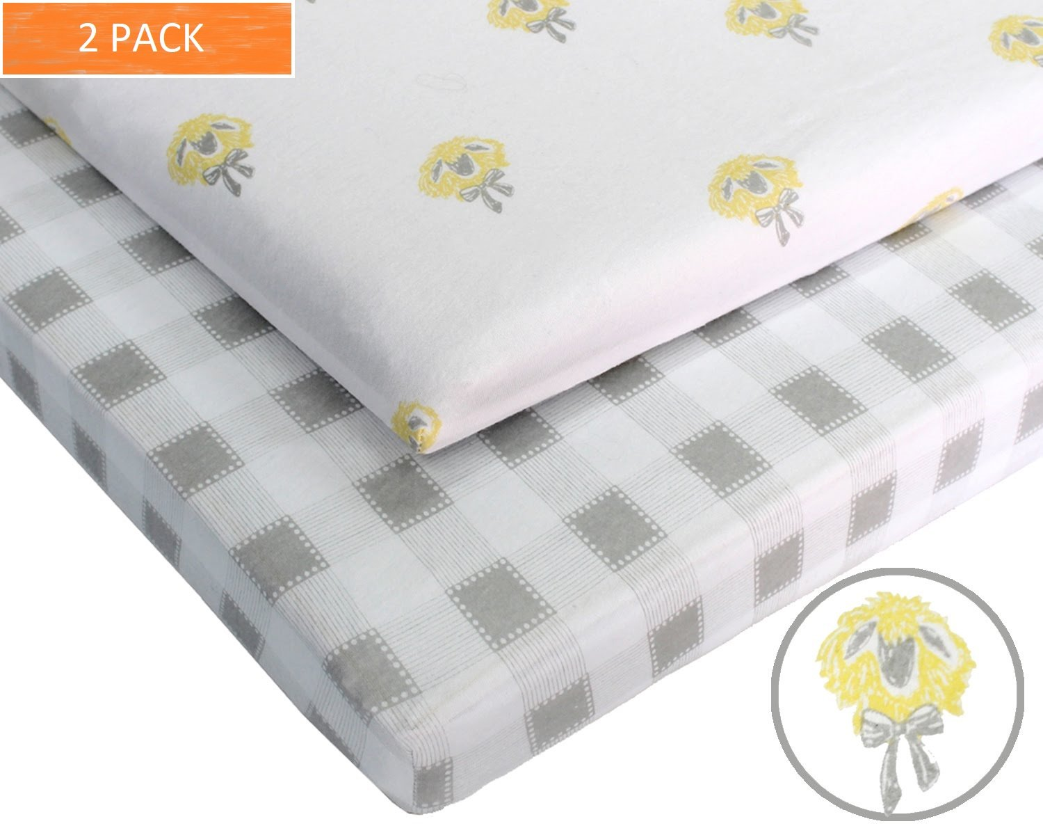 Pack N Play 100% Jersey Cotton Crib Sheets (2 Pack) Baby Boy and Baby Girl (Gender Neutral) Custom Farm Designs (Gray and White Gingham and Gray and Yellow Sheep) by Hartley Ash Machine Washable