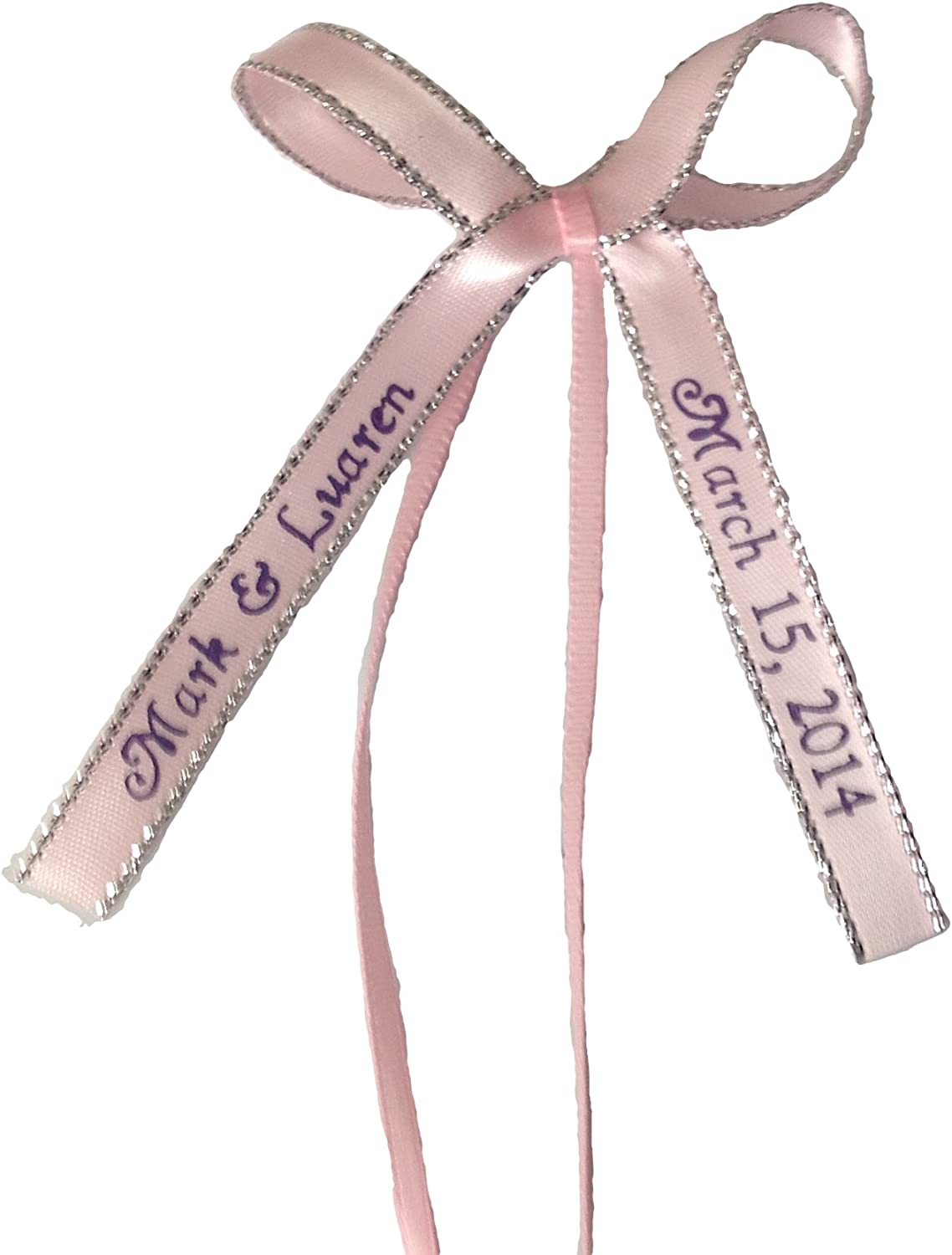 150 silver edge PERSONALIZED satin RIBBONs Party Wedding Baby Shower Favor