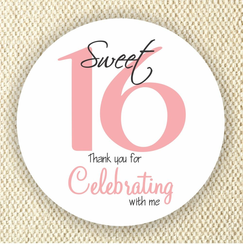 Sweet Sixteen Party Favor Stickers - Birthday Party Stickers - Thank you for celebrating with me stickers - Set of 40 stickers
