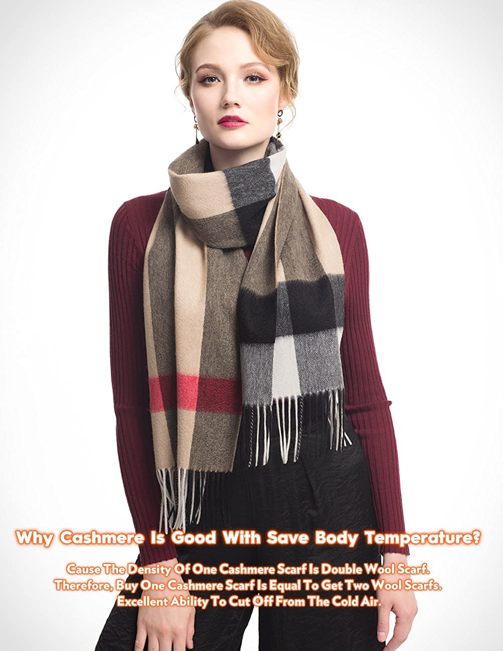 bc01bad48 STORY OF SHANGHAI Womens Handmade Plaid Cashmere Scarf Warm Winter Fringe Wool  Scarf at Amazon Women's Clothing store: