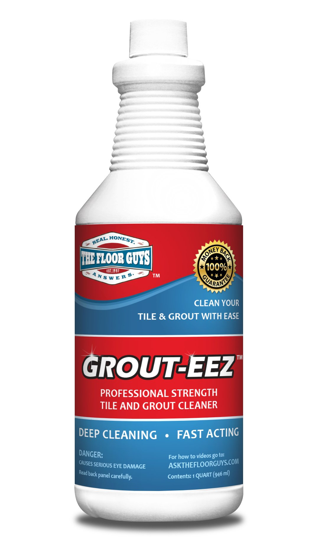 IT JUST WORKS! Grout-Eez Super Heavy-Duty Grout Cleaner. Easy and Safe To Use. Destroys Dirt and Grime With Ease. Even Safe For Colored Grout. The Floor Guys.