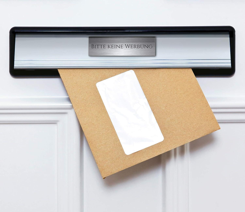 T/ürschild Briefkastenschild 7x2 cm Kunststoff Selbstklebend Bitte keine Werbung M1