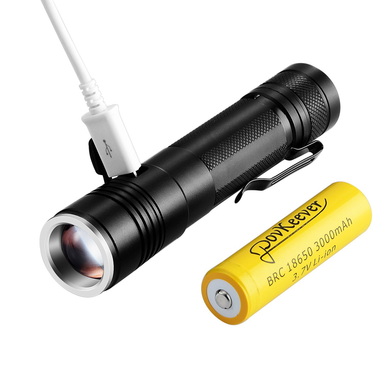 Povkeever Mini Torche Led Usb Rechargeable Flashlight 900 Lumen