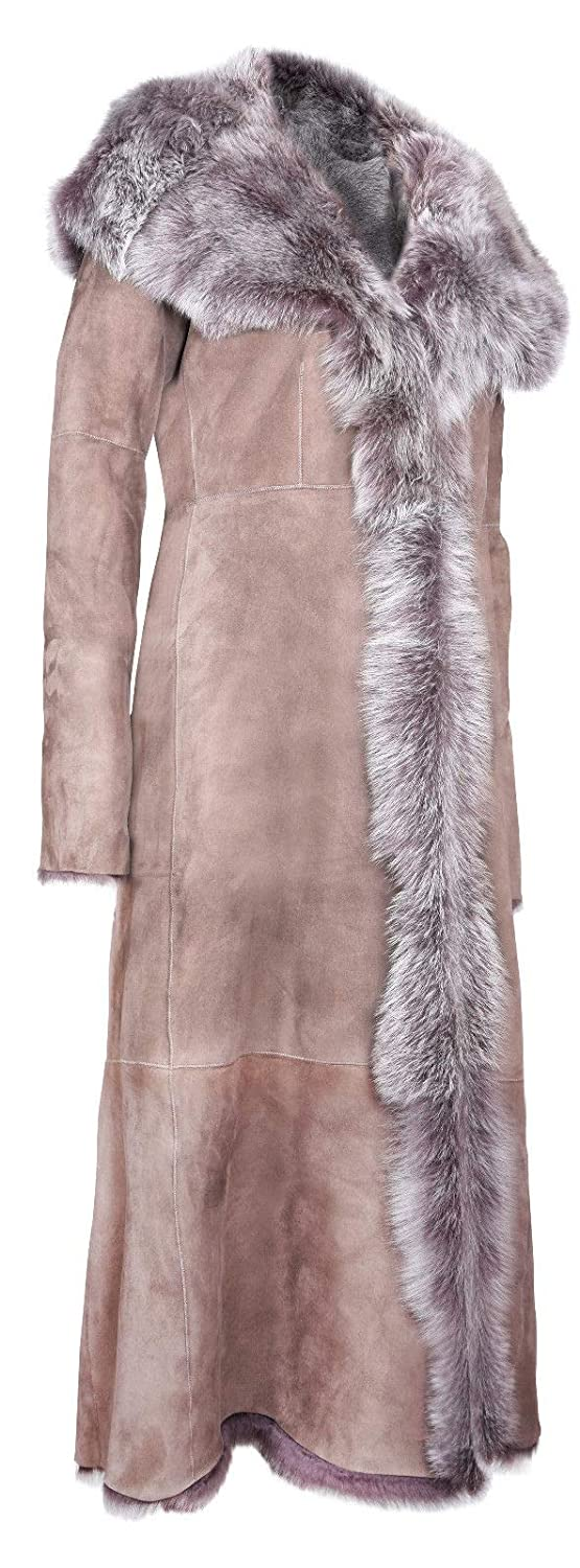 Taupe Full Length Hooded Ladies Suede Toscana Sheepskin Leather Trench Coat at Amazon Womens Coats Shop