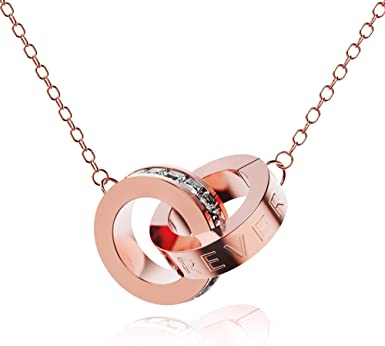 Amazon Com Sooyinn Interlocking Double Circles Necklace With Love Forever And Cubic Zirconia Rose Gold Pendant Necklaces For Women And Girls Jewelry Gifts Clothing