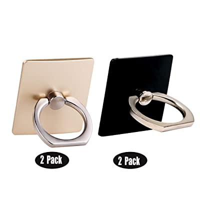 [4 Pack] Finger Ring Stand CaseHQ 360 Degree Rotary Cell Phone Adjustable Ring Stand Grip Mount Kickstand for iPhone X 8/8 Plus, Galaxy S9 S9 Plus S8/S8 Plus and Almost All Cases/Phones (Gold+Black)