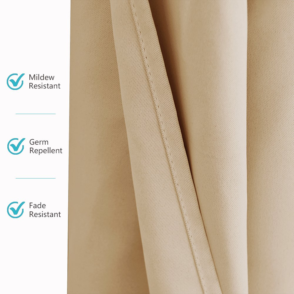 RYB HOME Outdoor Patio Curtains - Heavy Weighted Porch Waterproof Curtains Courtyard Outside Shade for Farmhouse Cabin Pergola Cabana Corridor Terrace, 1 Panel, 52 x 95 inches Long, Biscotti Beige by RYB HOME (Image #6)