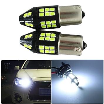 FEZZ Bombillas LED Coche Luz Diurna DRL S25 BA15S 1156 2835 40SMD 40W CANBUS: Amazon.es: Coche y moto