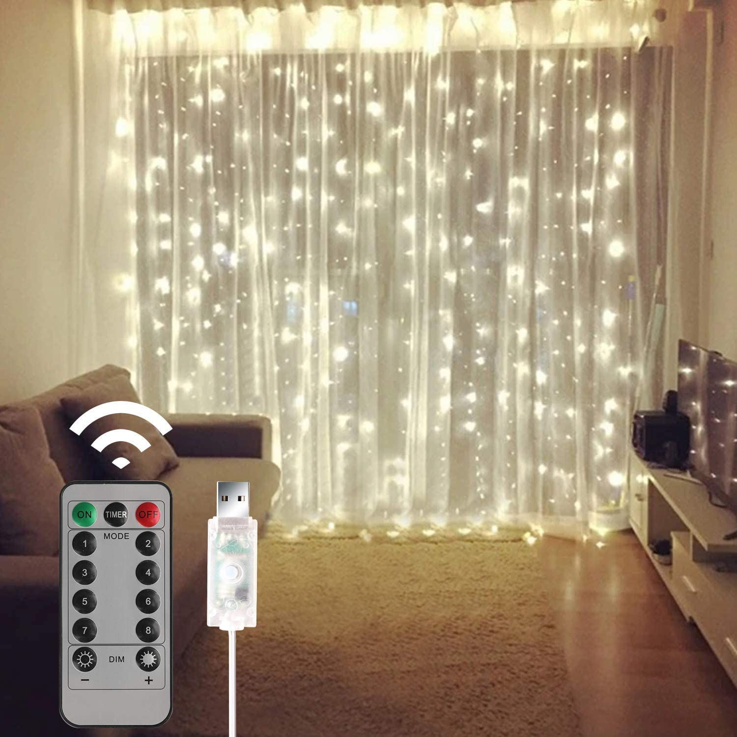 300 LED Curtain String Lights, Fairy Lights Plug in Hanging Lights with Remote Indoor for Home Decor, Wedding,Christmas, Birthday Decorations(Curtain is Not Included)