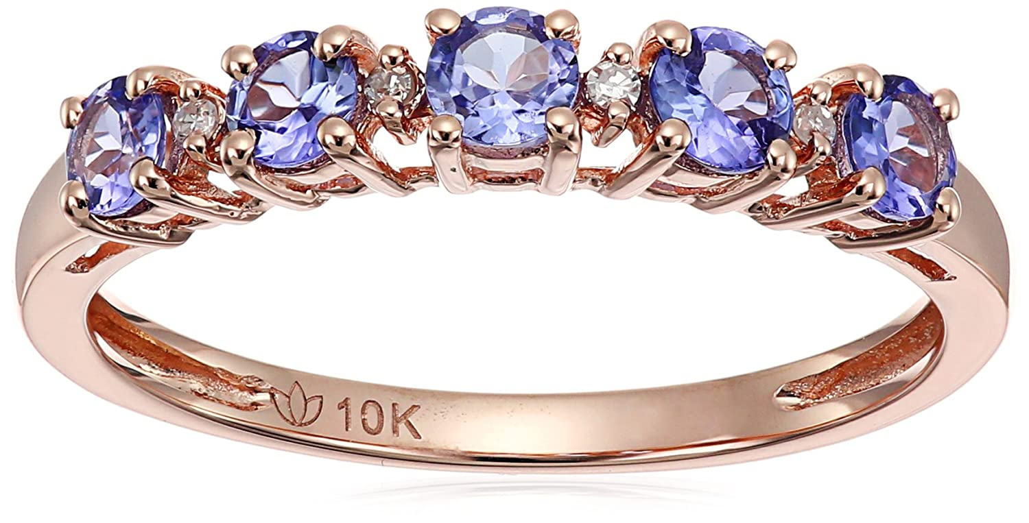10k Rose Gold Tanzanite and Diamond Accented Stackable Ring, Size 7 Amazon Collection R2047RTANZ