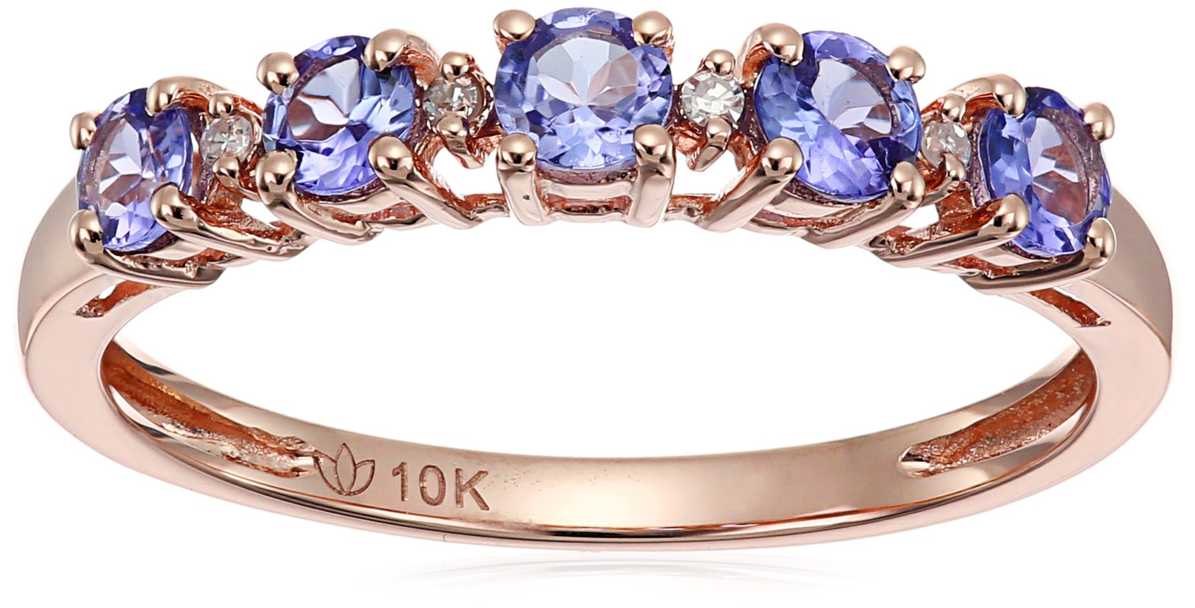 10k Rose Gold Tanzanite and Diamond Accented Stackable Ring, Size 7