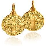 Saint-Benoît. Scapulaire. médaillon / collier / pendentif 14 carats en or jaune 14K / 585 2.9 g, 14x21mm