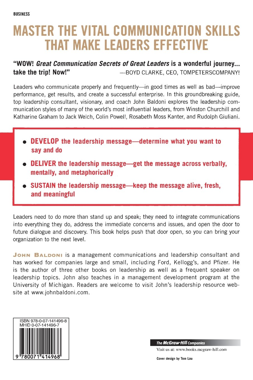 Great Communication Secrets of Great Leaders: John Baldoni: 9780071414968:  Amazon.com: Books