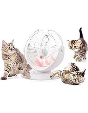 Pecute Katzenspielzeug Katze Bälle Trackball mit 360°raumdrehendem Bahn SpielzeugBälle Cool leuchtender GlockenBälle Katzenminze Bälle Katzenangel Maus