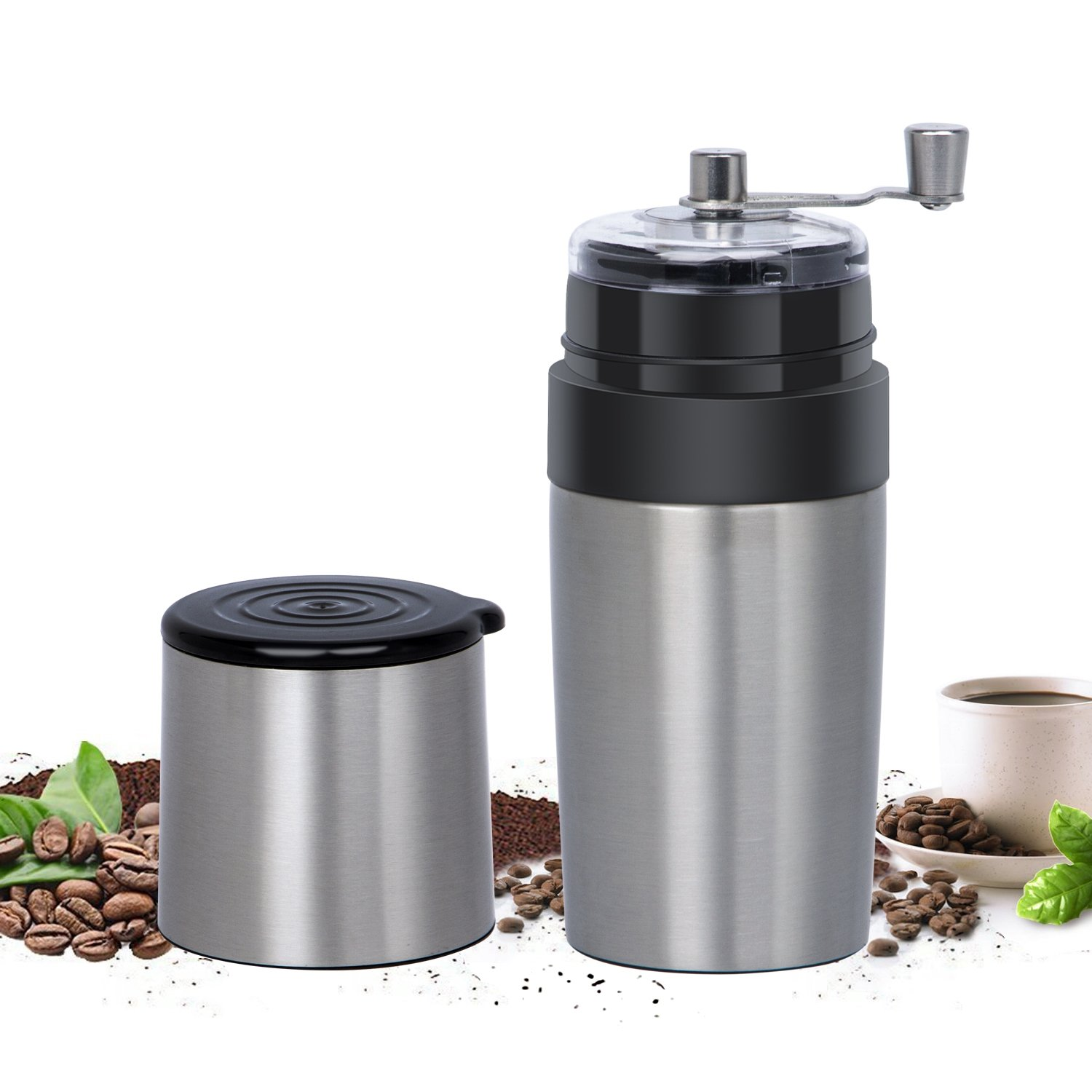 Manual Coffee Grinder, Kimfly Adjustable Coffee Bean Mill With Stainless Steel Body & Easy Hand Crank, Portable Home Kitchen Travel Coffee Bean Grinder/Coffee Mill