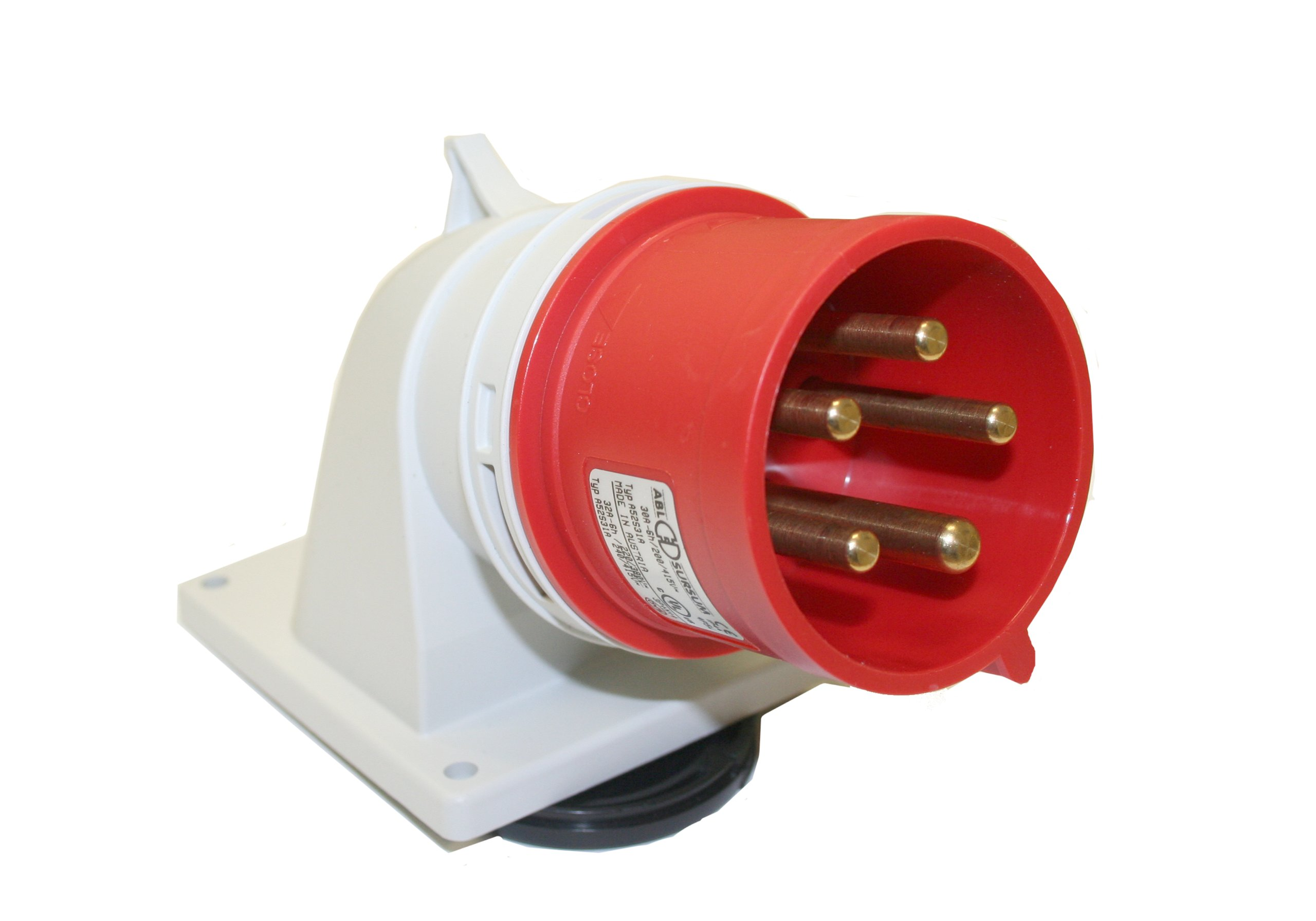 Interpower 84452313 IEC 60309 High Power Angled Inlet, Four Pole, Five Wire, 32A/30A Rating, 200/415VAC Voltage, Red 6 Hour Designation