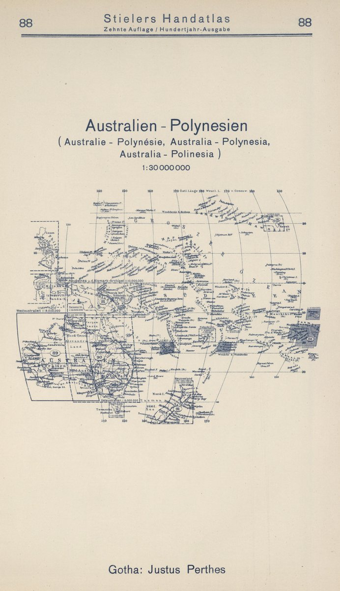 Historic Pictoric 1925 World Atlas Index Map 88 Vintage Diagram Together With Watch Parts Australien Polynesien Australia Polynesia Antique Reprint 14in X 24in