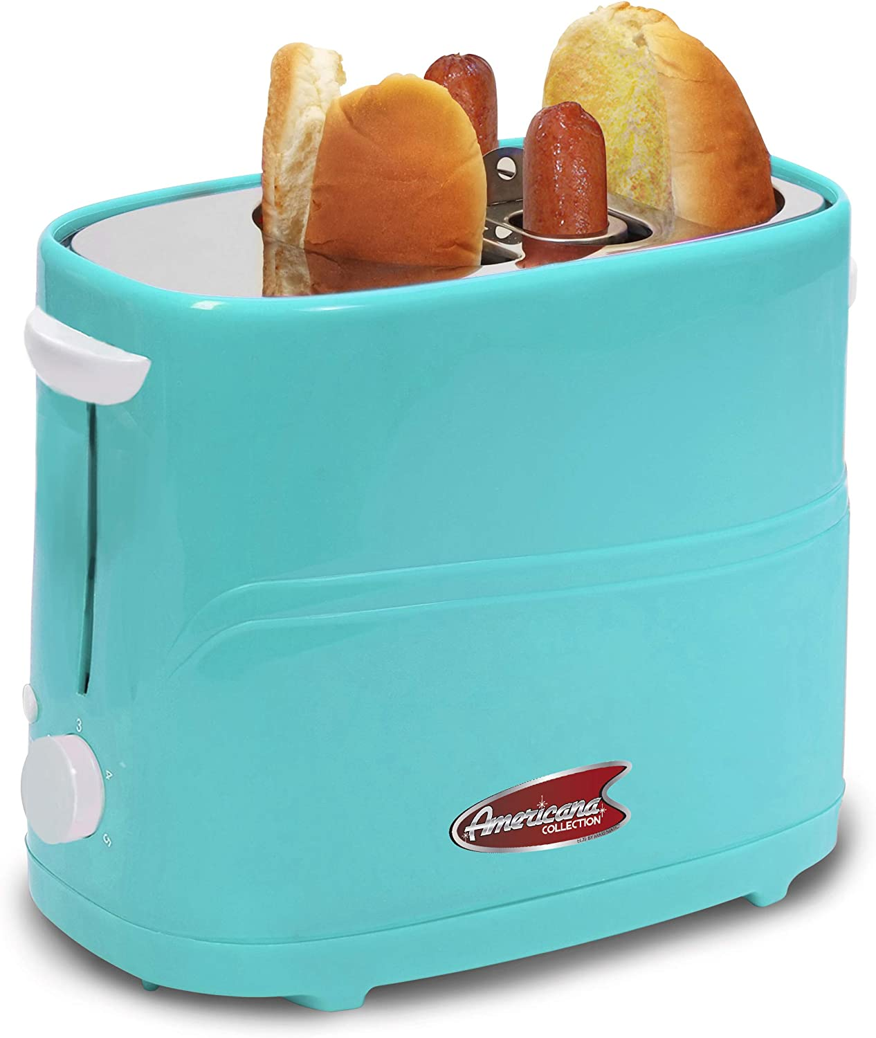 Elite Gourmet ECT-542BL Retro Pop-Up Hot Dog and Bun Toaster Cooker Machine with Tongs, Heat Veggie Links Kosher Beef Turkey Sausages Bratwurst, 2 Slice