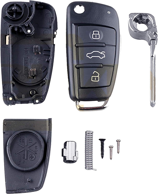 SUKRAGRAHA Replacement Uncut Car Key Remote Case Shell Compatible with Audi A3 A4 A6 A8 TT Q7 S6 Quattro