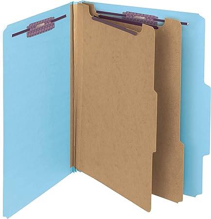 TAB Pressboard Classification Folder Letter Size 2 Divider 6 Fasteners Blue 25//Box Top Tab