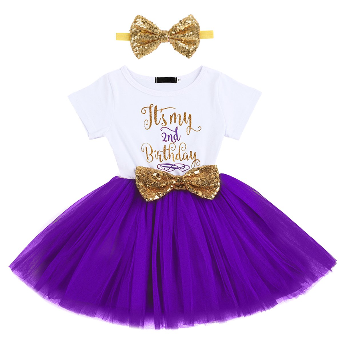 Newborn Baby Girl Princess Its My 1st//2nd Birthday Party Cake Smash Shinny Sequin Bow Tie Tulle Tutu Dress Outfit