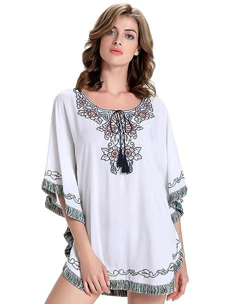 Choies Mujer Blanco Floral Mexicano campesinos bordado Oversized de manga murciélago blusa
