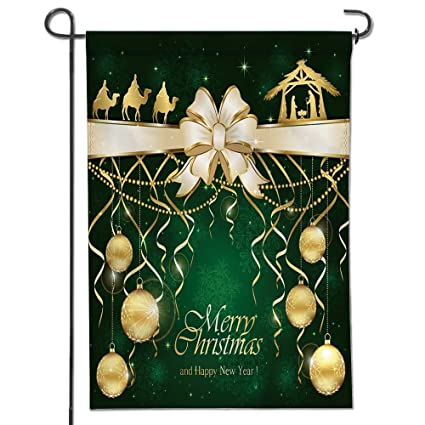 leighhome garden flag for yard decorations and outdoor decor green christmas background with golden baubles and - Christian Outdoor Christmas Decorations