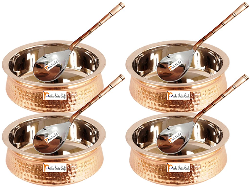 Set of 4 Prisha India Craft ® High Quality Handmade Steel Copper Casserole and Serving Spoon - Set of Copper Handi and Serving Spoon - Copper Bowl Dia - 5.00'' X Height - 2.00'' - Christmas Gift by Prisha India Craft (Image #1)