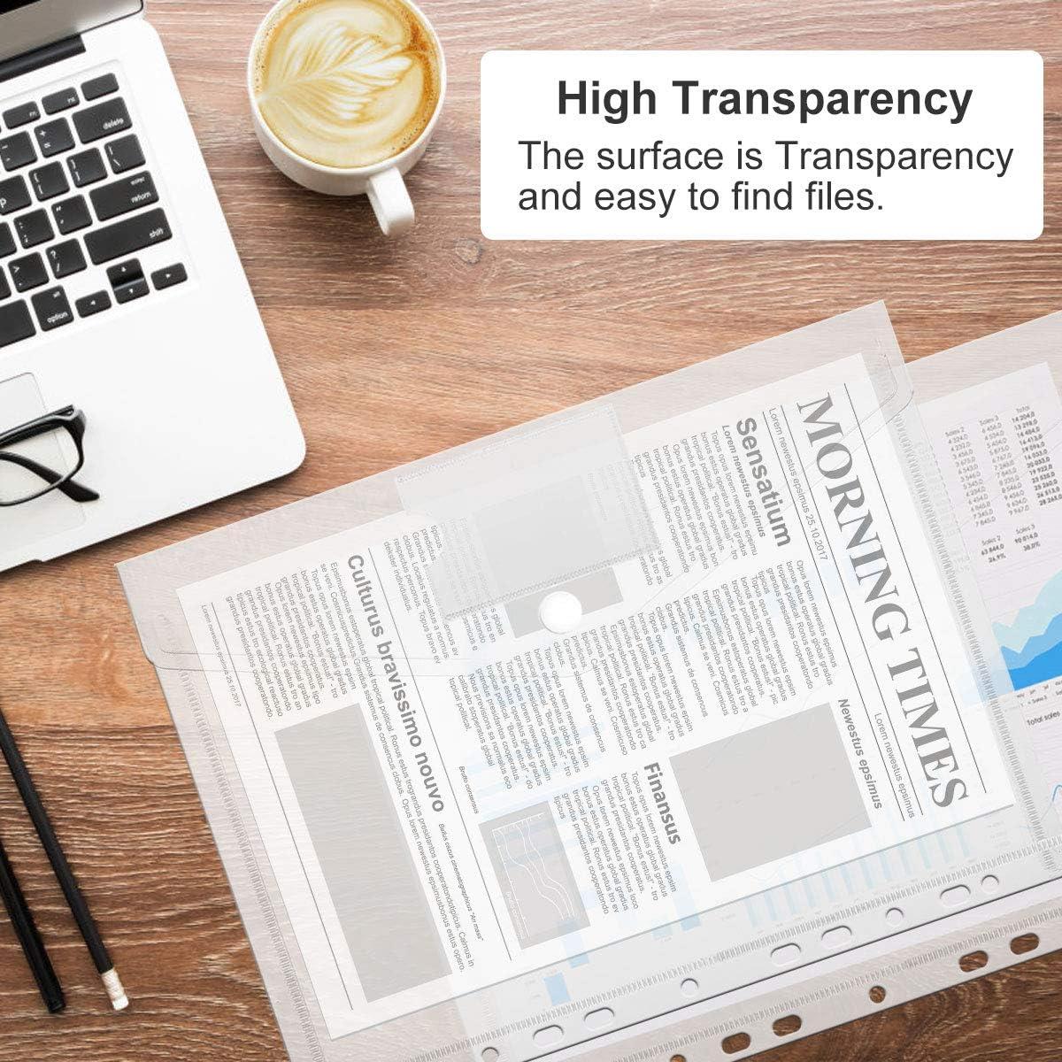 Carpetas Para Archivo A4 Portafolios de Pl/ástico con Bot/ón para Documentos Recibos Oficina y Escolar Samione 20Pcs Bolsa de Documentos de Transparentes Certificados