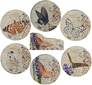 Coralpearl Coasters for 6 Drinks Absorbent with Wooden Holder, Round Wood Cup Mat Set Vintage Decorative Pads for Wine Tea Coffee Beverage Beer of Kitchen Office Bar Table Countertops (4