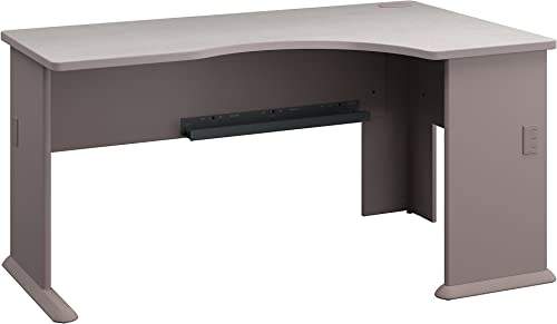 Bush Business Furniture Series A Right Corner Desk in Pewter and White Spectrum
