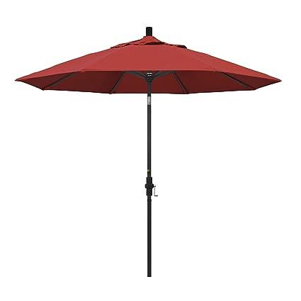 california umbrella 9 round aluminum market umbrella crank lift collar tilt black - Black Patio Umbrella