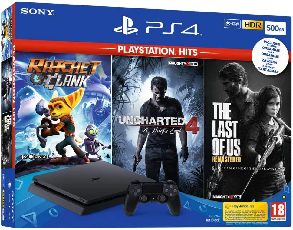 PS4 SLIM 500 Go F Black + The Last Of Us HITS + Ratchet & Clank HITS + Uncharted 4 HITS [Importación francesa]: Amazon.es: Videojuegos
