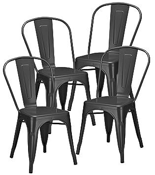 Giovanni Marchesi Design Lot DE 4 CHAISES Atelier Style Industriel Gris Anthracite