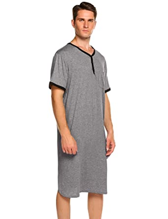 02432382a8c Amazon.com  Ekouaer Men s Nightshirts Short Sleeve Nightwear Henley  Sleepshirt Kaftan Pajama with Pocket  Clothing