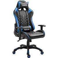 YOLEO Gaming Stuhl, bequemer Gaming Sessel 150 kg Belastbarkeit, Kunstleder PC Stuhl drehbar höhenverstellbar Gaming Chair mit Fußstütze oder Kopfstütze