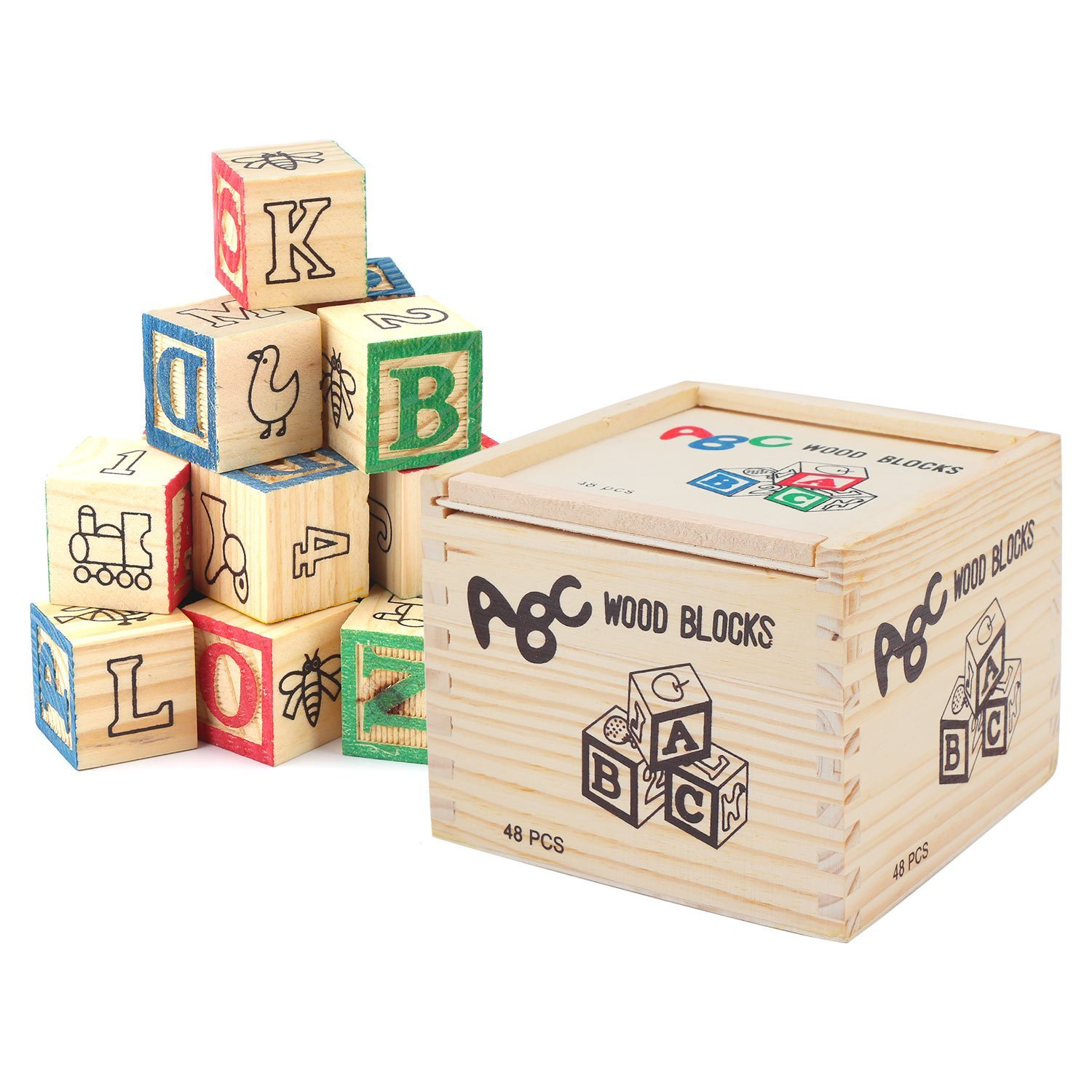 Segarty Wooden Alphabet Blocks, 48pcs Building Blocks Toys- ABC/123 Learning, Counting, Stacking-Wood Letter Number Blocks Set for Babies Toddlers Kids Children