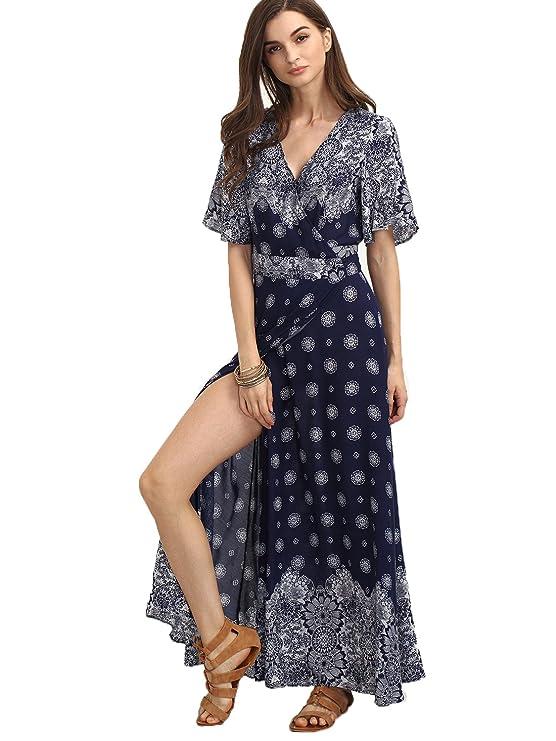 Milumia Women's Boho Deep V Neck Floral Chiffon Wrap Split Long Dress Large Light-Blue