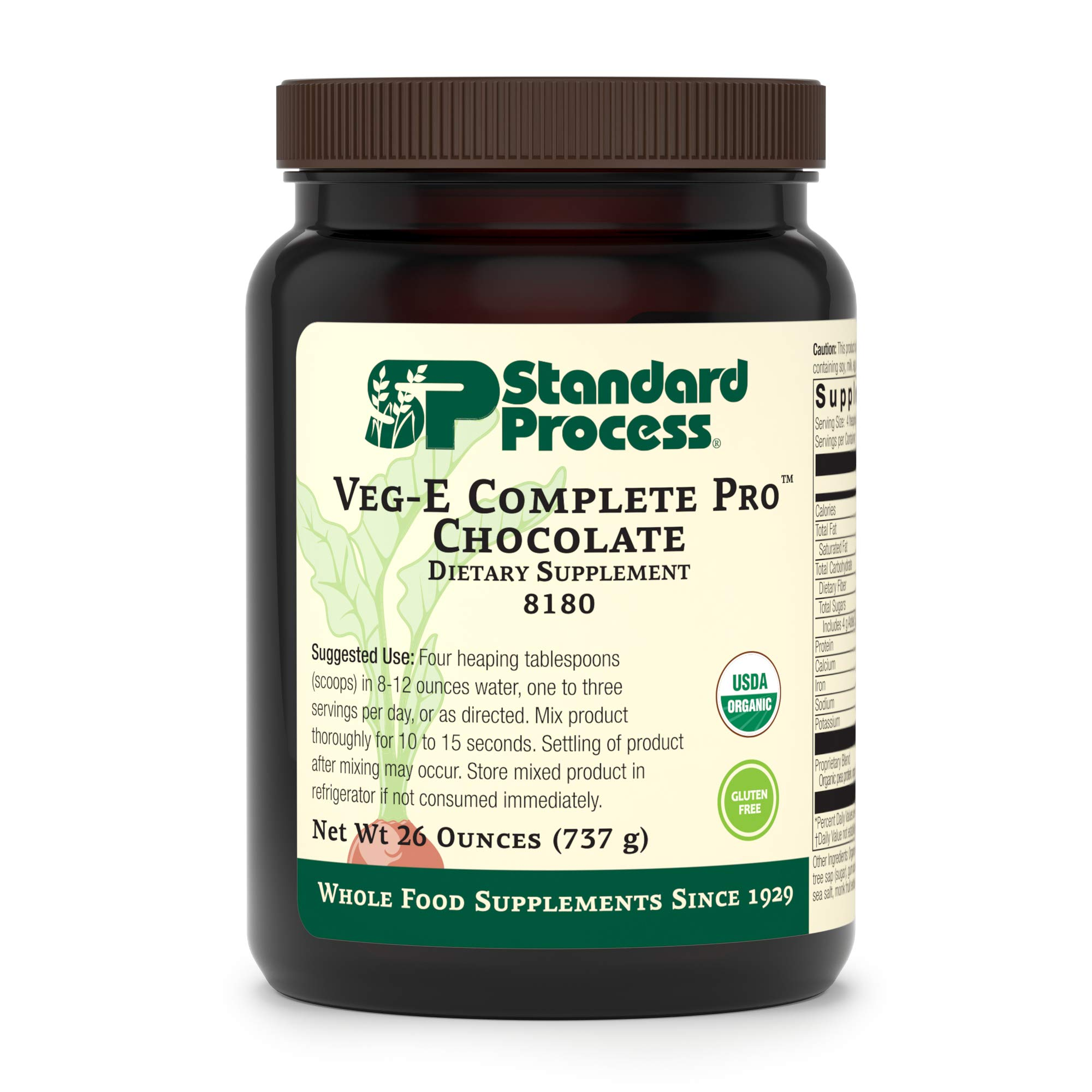 Standard Process - Veg-E Complete Pro Chocolate - Organic Plant-Based Protein Blend, 15 g Protein, Calcium, Iron, Potassium, Essential Amino Acids, Vegan, Gluten Free, Non-GMO - 26 oz. by Standard Process (Image #1)