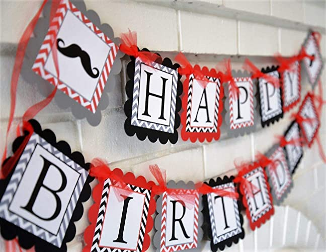 gray black and red happy birthday little man theme banner customizable happy birthday party