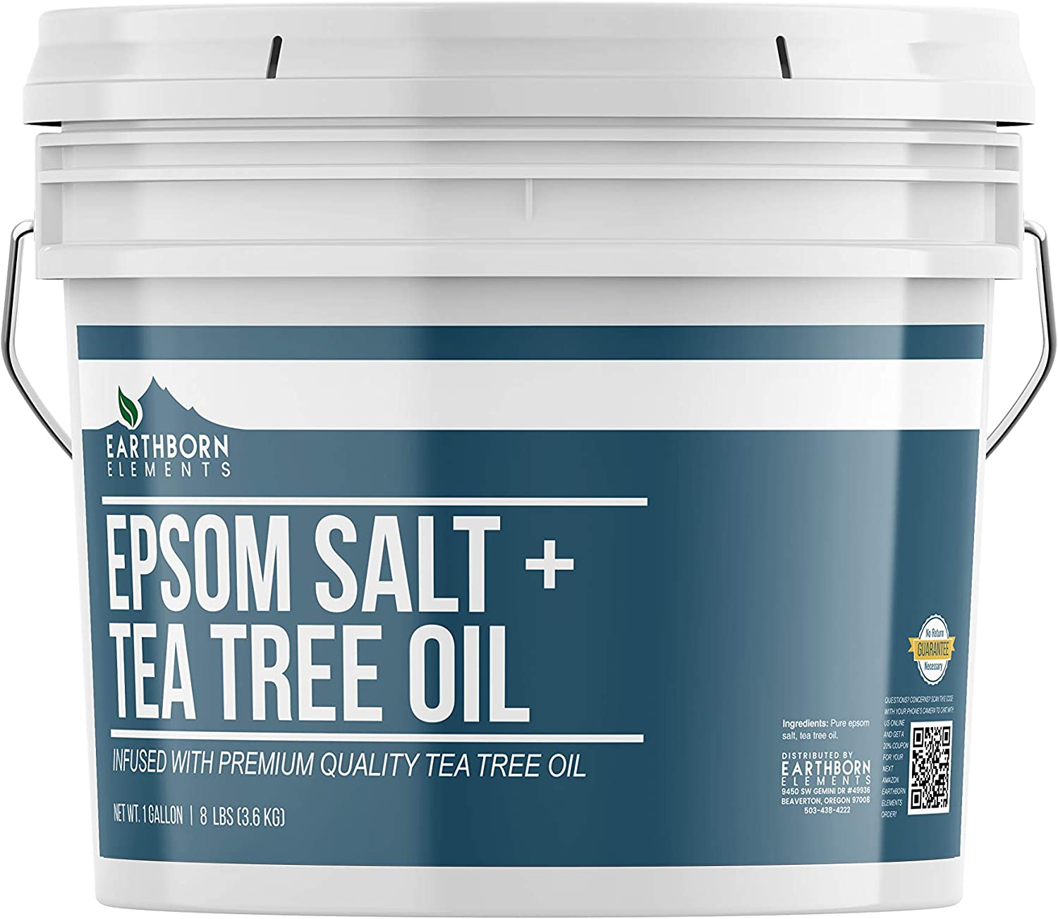 Tea Tree Epsom Salt (1 Gallon Bucket) by Earthborn Elements, Infused with Tea Tree Essential Oil, Skin Soothing, Foot Soak, Stress Relief, Aromatherapy