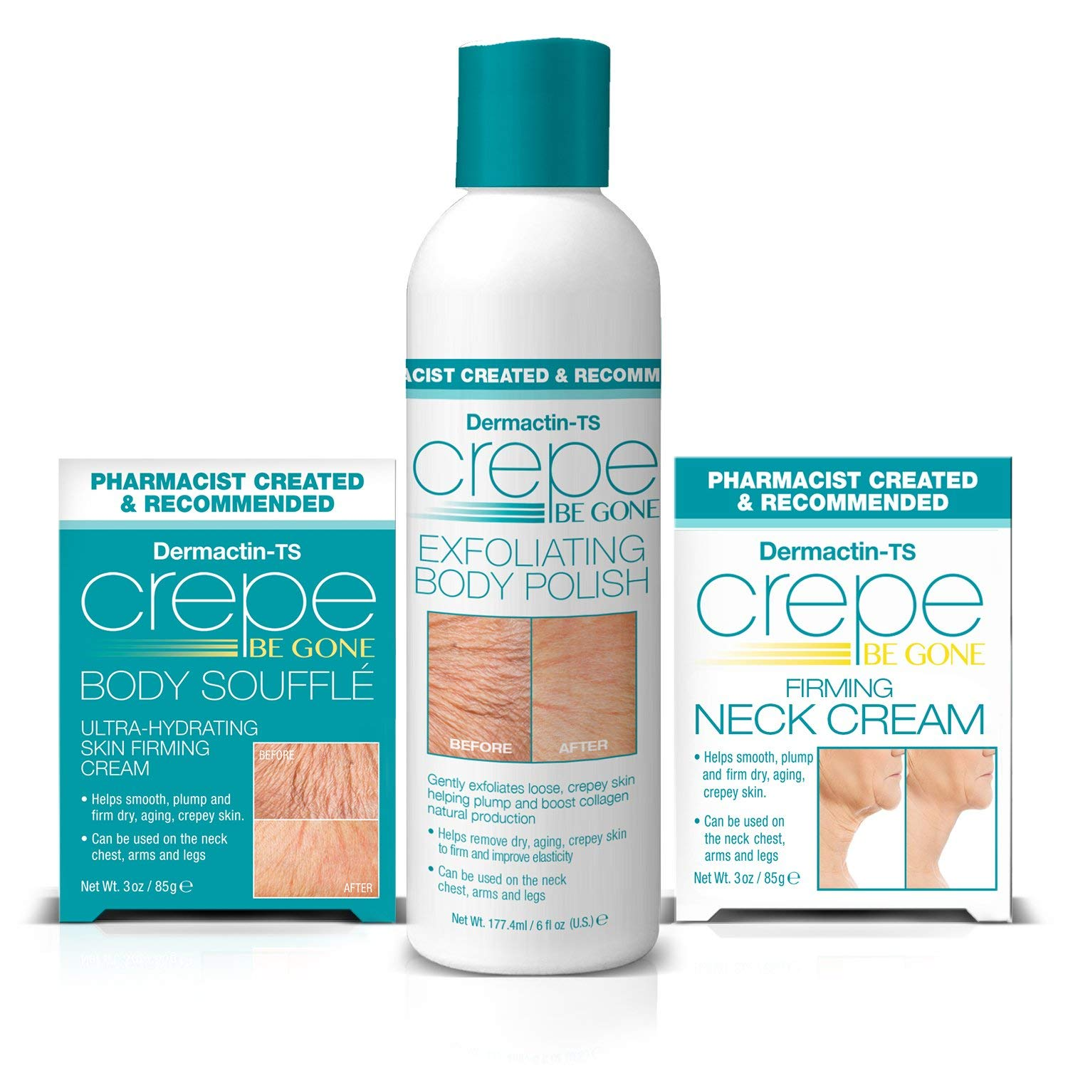 Dermactin-TS Crepe Be Gone 3-Piece Kit - Includes Body Souffle Neck Cream and Body Polish