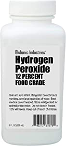Blubonic H2O2 Food-grade Hydrogen Peroxide 12 Percent, (derived from 35%). Stabilizer-free, Pure Oxygen and Water H202 (8 fl oz)