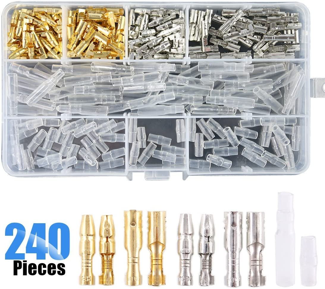 StyleZ 100 Sets 3.9mm Brass Male /& Female Bullet Insulated Terminals Wire Connector Insulation Covers Tool Assortment Repair Set Box for Car Truck Motorcycle Quad Bike