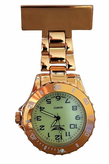 NY London oro con brillo luminoso en la oscuridad cara Metal enfermera médico paramédico FOB reloj broche Extra batería: Amazon.es: Relojes