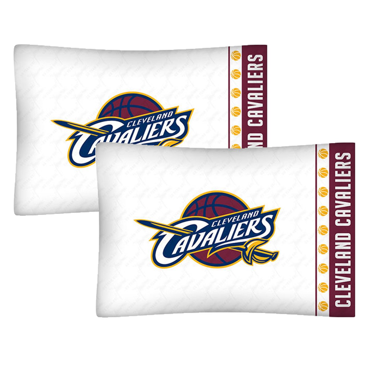 Set of 2 NBA Cleveland Cavaliers Pillowcases Basketball Team Logo Bedding Pillow Covers by NBA
